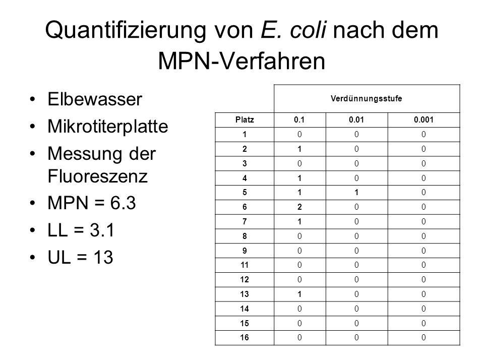 Quantifizierung von E. coli nach dem MPN-Verfahren Elbewasser Mikrotiterplatte Messung der Fluoreszenz MPN = 6.3 LL = 3.1 UL = 13 Verdünnungsstufe Pla