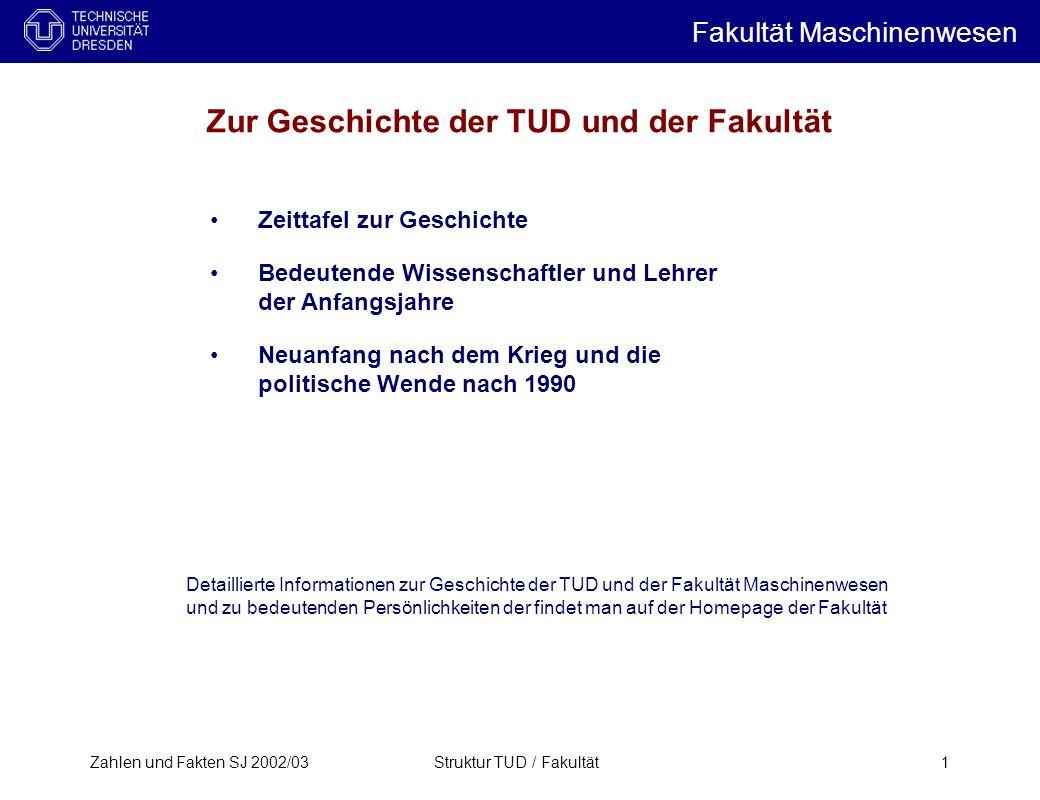 Zahlen und Fakten SJ 2002/03Struktur TUD / Fakultät1 Zeittafel zur Geschichte Bedeutende Wissenschaftler und Lehrer der Anfangsjahre Neuanfang nach de