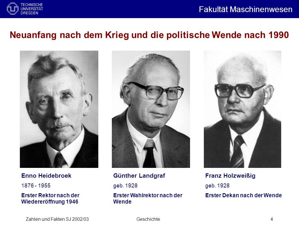 Zahlen und Fakten SJ 2002/03Geschichte4 Neuanfang nach dem Krieg und die politische Wende nach 1990 Günther Landgraf geb. 1928 Erster Wahlrektor nach
