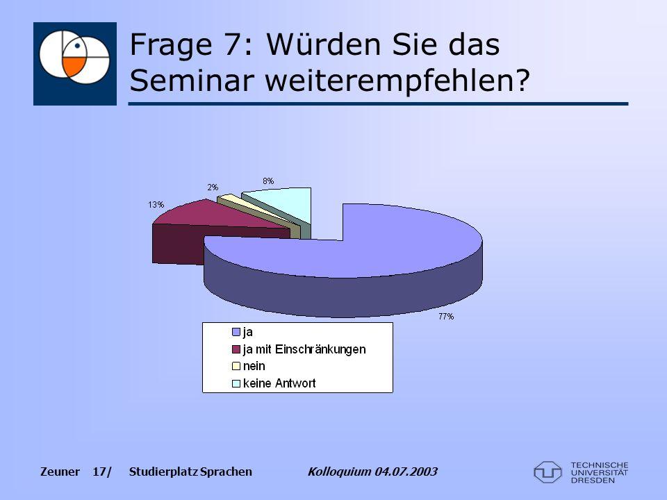 Zeuner 17/ Studierplatz Sprachen Kolloquium 04.07.2003 Frage 7: Würden Sie das Seminar weiterempfehlen?