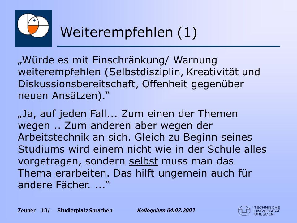 Zeuner 18/ Studierplatz Sprachen Kolloquium 04.07.2003 Würde es mit Einschränkung/ Warnung weiterempfehlen (Selbstdisziplin, Kreativität und Diskussio