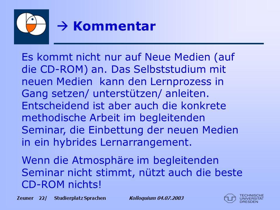 Zeuner 22/ Studierplatz Sprachen Kolloquium 04.07.2003 Kommentar Es kommt nicht nur auf Neue Medien (auf die CD-ROM) an. Das Selbststudium mit neuen M