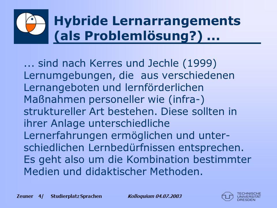 Zeuner 4/ Studierplatz Sprachen Kolloquium 04.07.2003 Hybride Lernarrangements (als Problemlösung?)...... sind nach Kerres und Jechle (1999) Lernumgeb