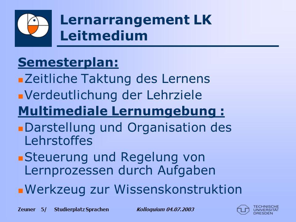 Zeuner 5/ Studierplatz Sprachen Kolloquium 04.07.2003 Lernarrangement LK Leitmedium Semesterplan: Zeitliche Taktung des Lernens Verdeutlichung der Leh