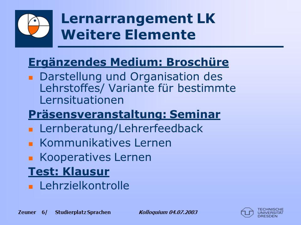 Zeuner 6/ Studierplatz Sprachen Kolloquium 04.07.2003 Lernarrangement LK Weitere Elemente Ergänzendes Medium: Broschüre Darstellung und Organisation d