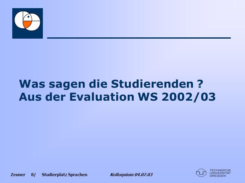 Zeuner 8/ Studierplatz Sprachen Kolloquium 04.07.03 Was sagen die Studierenden ? Aus der Evaluation WS 2002/03