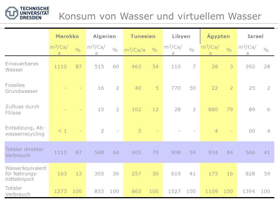 Konsum von Wasser und virtuellem Wasser