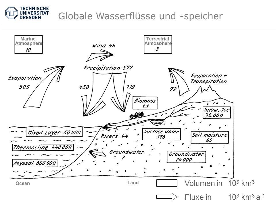 0,328380,2Verfügbares Süßwasser 7 6,34 0,019280Seewasser 11,930,005885Bodenfeuchte Total Flüsse Atmosphäre Eis Actives Grundwasser Fossiles Grundwasser Salzwasser Wasserressource 1475703 1,2 14 24000 4000 60000 1370323 (10 3 km 3 ) Volumen ~100 0,00008 0,00096 1,645 0,274 4,113 93,942 (%) Anteil an totalem Wasser 100 0,03 0,32 91,38 (%) Anteil an verfügbarem Süßwasser 0,027 (a) 0,031 8000 330 5000 3000 Erneue- rungszeit Globale Wasservorkommen