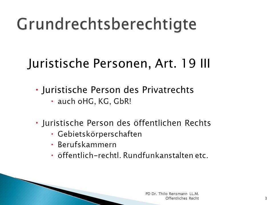 Juristische Personen, Art. 19 III Juristische Person des Privatrechts auch oHG, KG, GbR! Juristische Person des öffentlichen Rechts Gebietskörperschaf