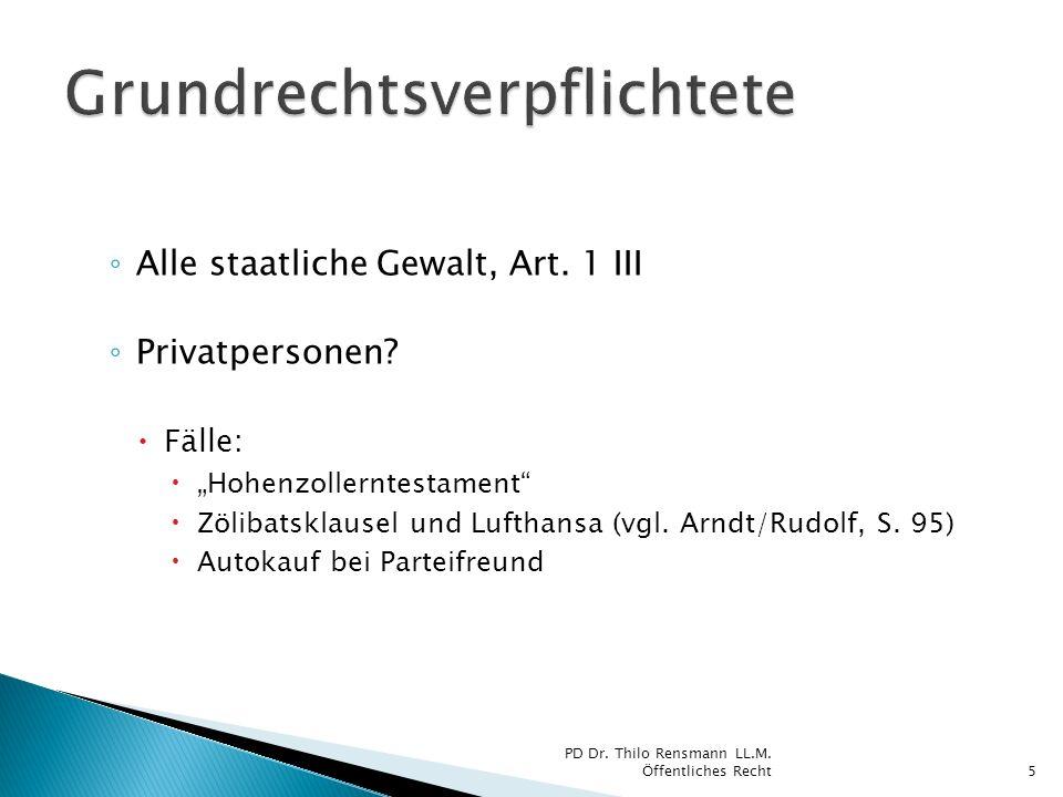 Alle staatliche Gewalt, Art. 1 III Privatpersonen? Fälle: Hohenzollerntestament Zölibatsklausel und Lufthansa (vgl. Arndt/Rudolf, S. 95) Autokauf bei