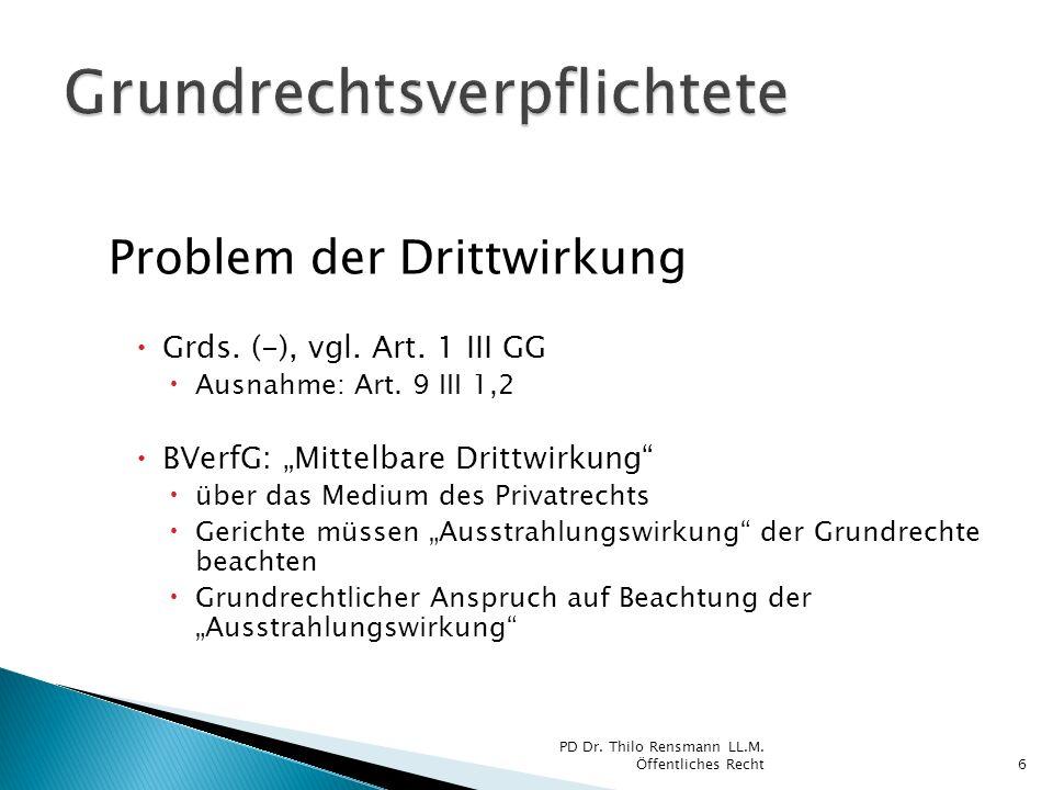 Problem der Drittwirkung Grds. (-), vgl. Art. 1 III GG Ausnahme: Art. 9 III 1,2 BVerfG: Mittelbare Drittwirkung über das Medium des Privatrechts Geric