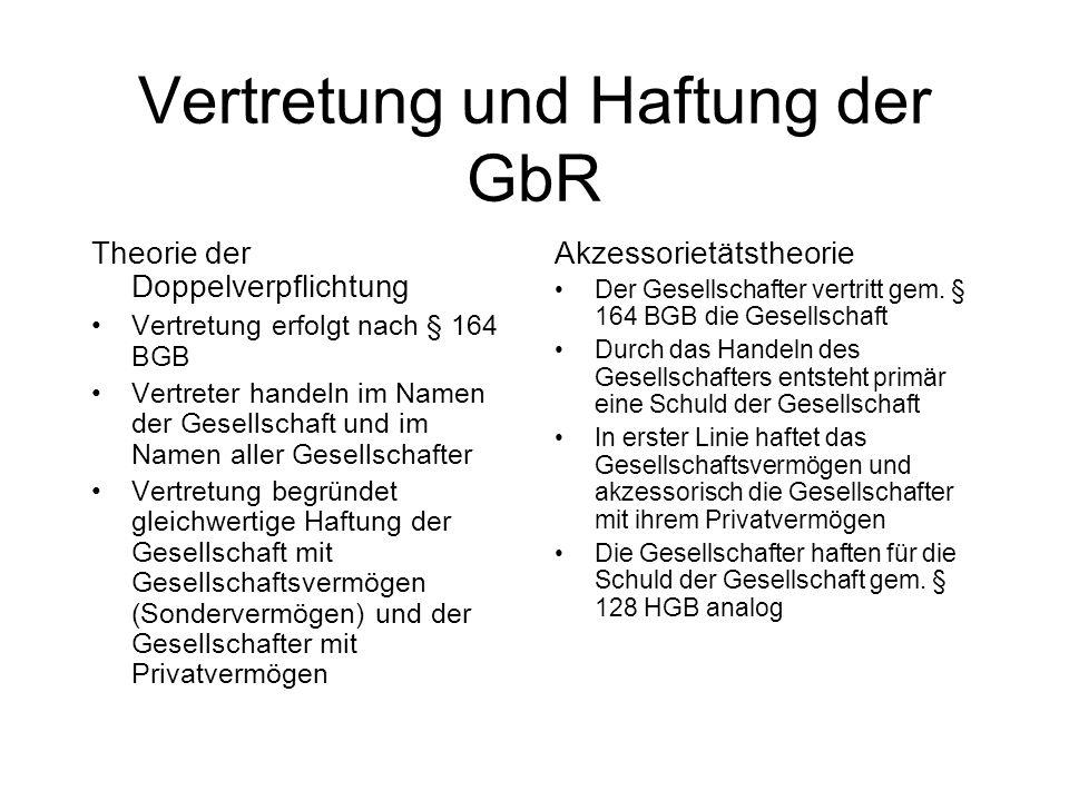 Vertretung und Haftung der GbR Theorie der Doppelverpflichtung Vertretung erfolgt nach § 164 BGB Vertreter handeln im Namen der Gesellschaft und im Na
