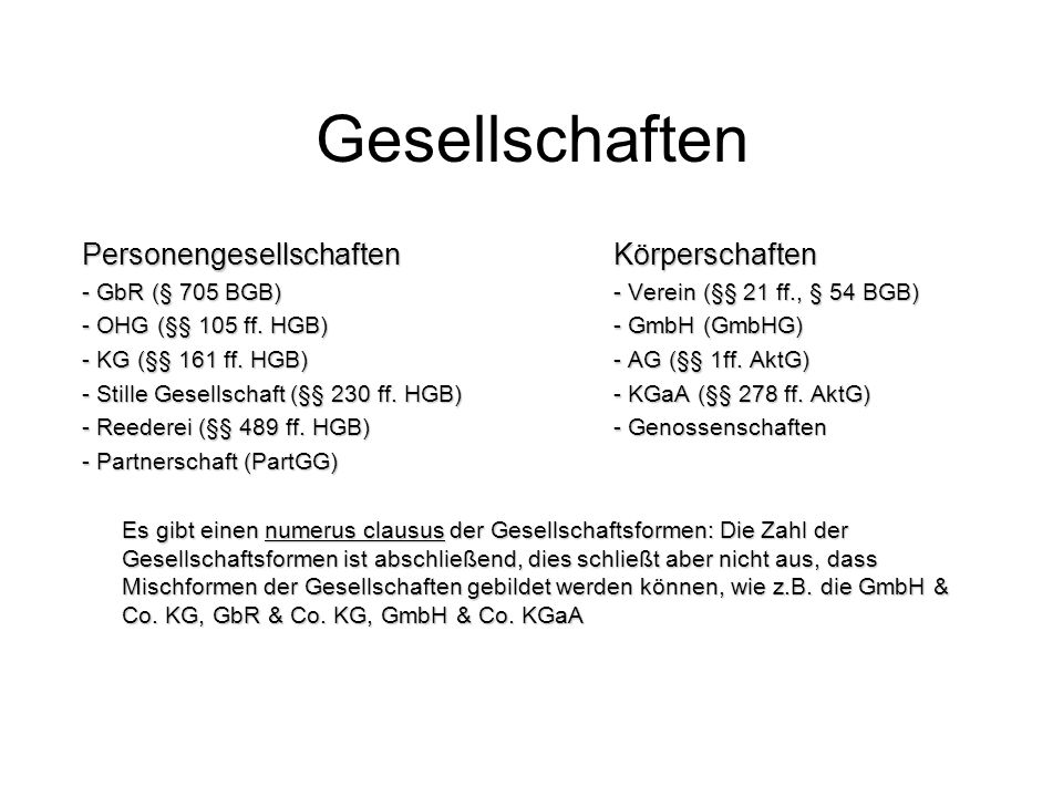 Gesellschaften PersonengesellschaftenKörperschaften - GbR (§ 705 BGB)- Verein (§§ 21 ff., § 54 BGB) - OHG (§§ 105 ff. HGB)- GmbH (GmbHG) - KG (§§ 161