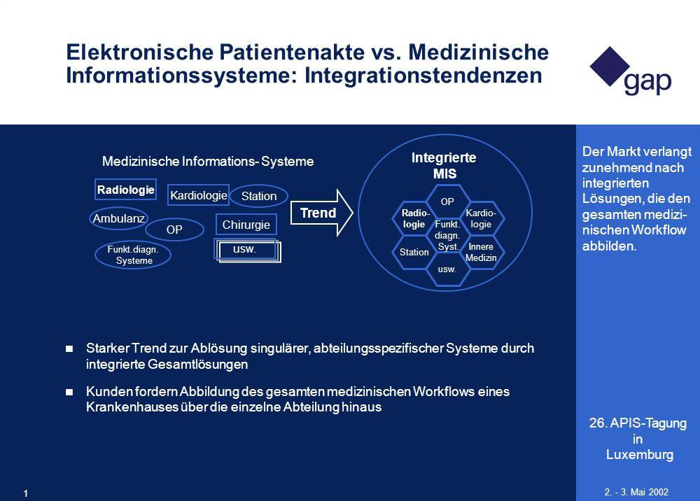 26. APIS-Tagung in Luxemburg 10 2. - 3. Mai 2002 Elektronische Patientenakte vs. Medizinische Informationssysteme: Integrationstendenzen Starker Trend