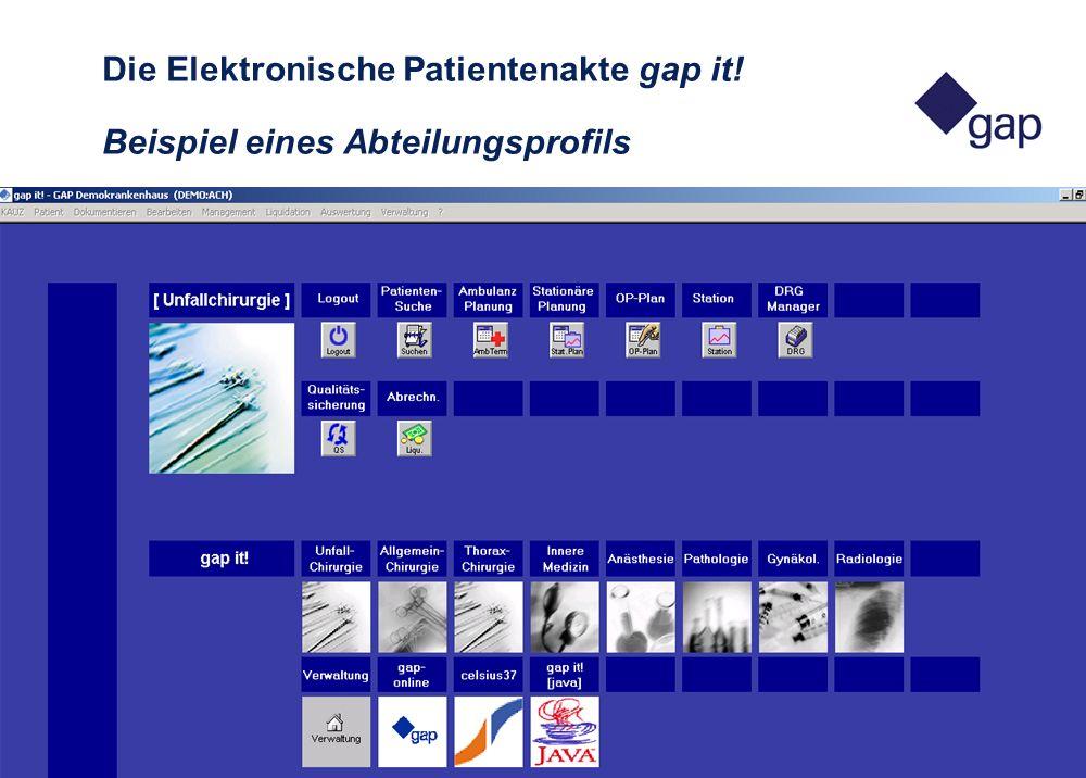 26. APIS-Tagung in Luxemburg 12 2. - 3. Mai 2002 Die Elektronische Patientenakte gap it! Beispiel eines Abteilungsprofils