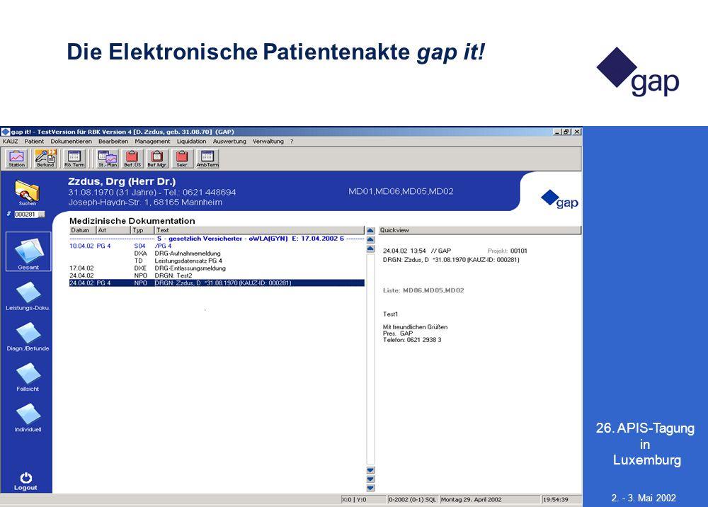 26. APIS-Tagung in Luxemburg 13 2. - 3. Mai 2002 Die Elektronische Patientenakte gap it!