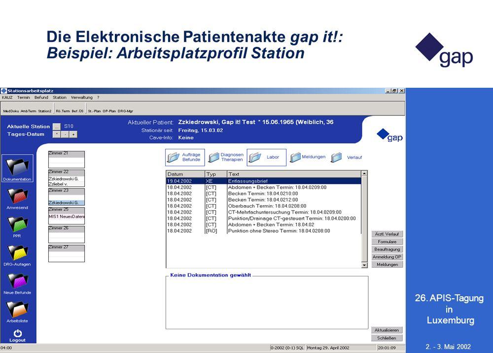 26. APIS-Tagung in Luxemburg 14 2. - 3. Mai 2002 Die Elektronische Patientenakte gap it!: Beispiel: Arbeitsplatzprofil Station