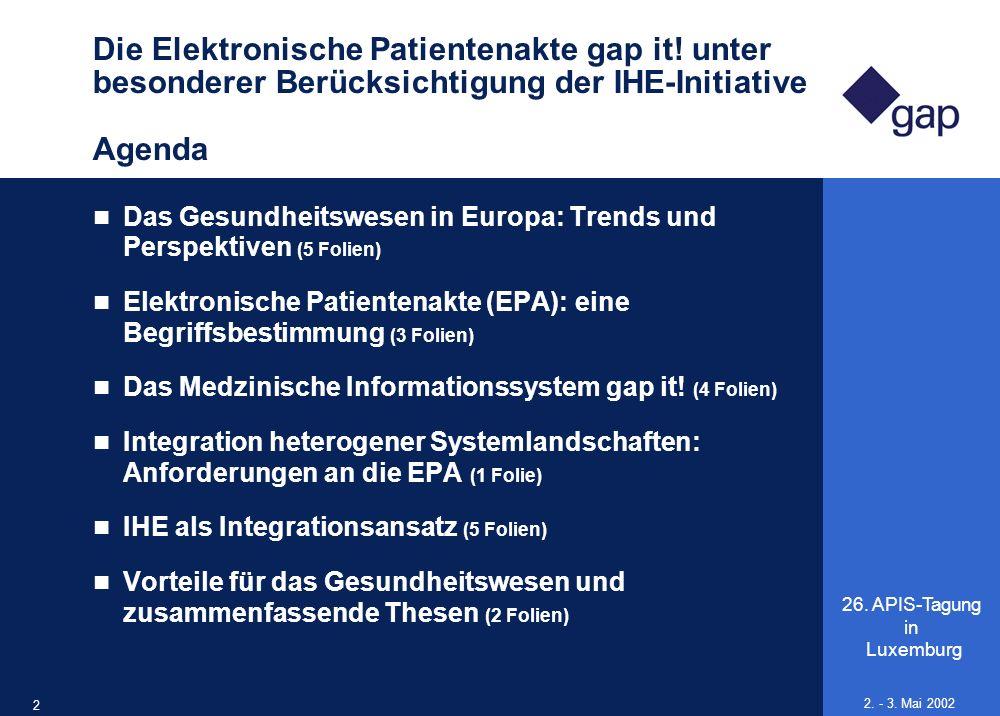 26. APIS-Tagung in Luxemburg 2 2. - 3. Mai 2002 Die Elektronische Patientenakte gap it! unter besonderer Berücksichtigung der IHE-Initiative Agenda Da