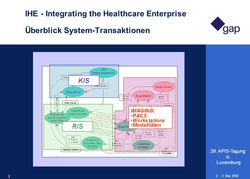 26. APIS-Tagung in Luxemburg 21 2. - 3. Mai 2002 IHE - Integrating the Healthcare Enterprise Überblick System-Transaktionen