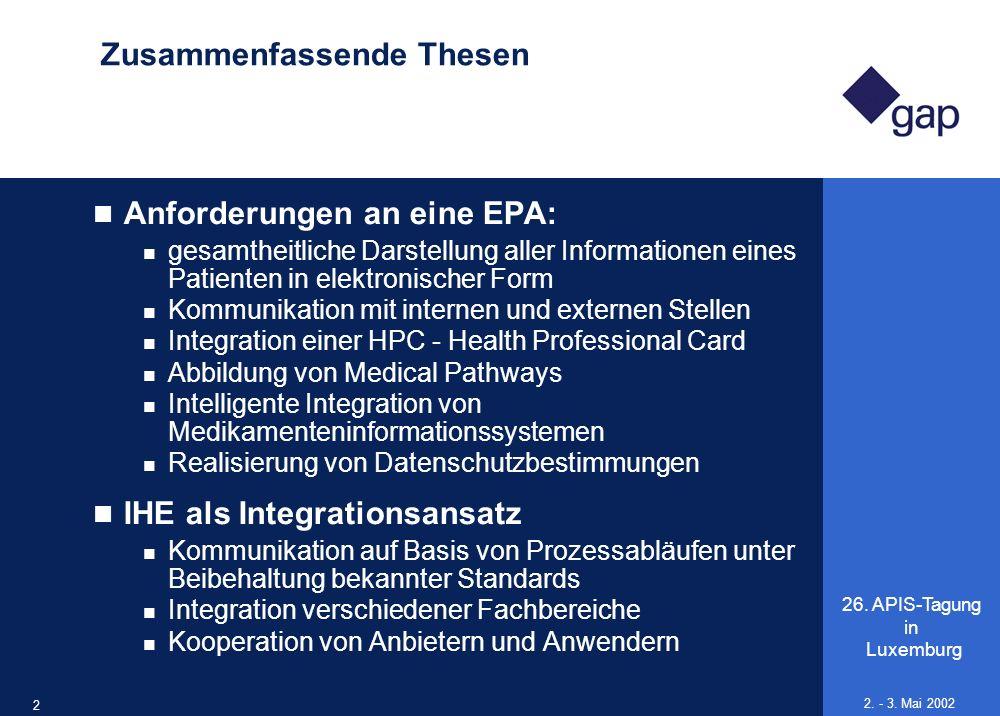 26. APIS-Tagung in Luxemburg 23 2. - 3. Mai 2002 Zusammenfassende Thesen Anforderungen an eine EPA: gesamtheitliche Darstellung aller Informationen ei