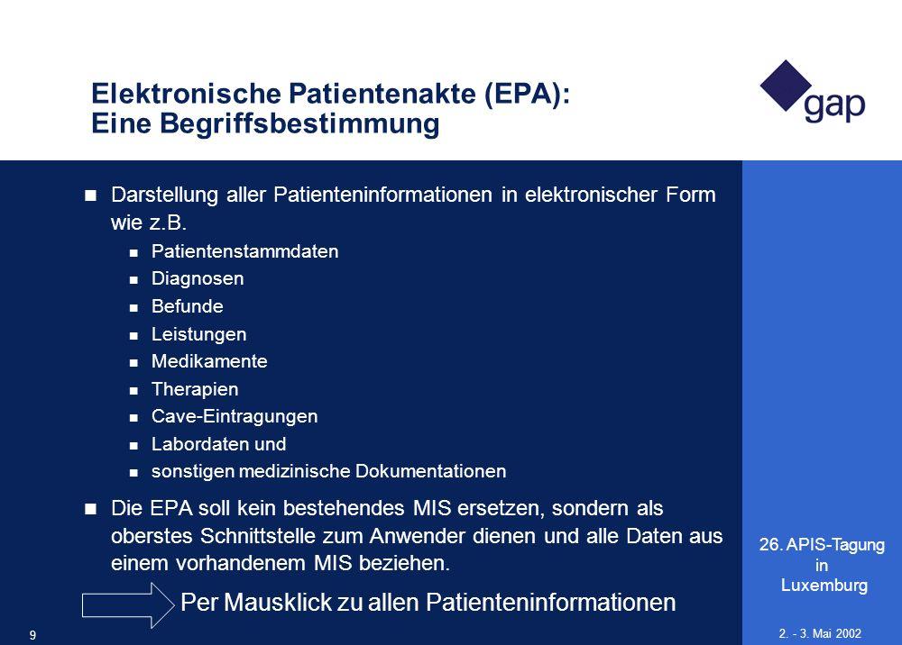 26. APIS-Tagung in Luxemburg 9 2. - 3. Mai 2002 Elektronische Patientenakte (EPA): Eine Begriffsbestimmung Darstellung aller Patienteninformationen in