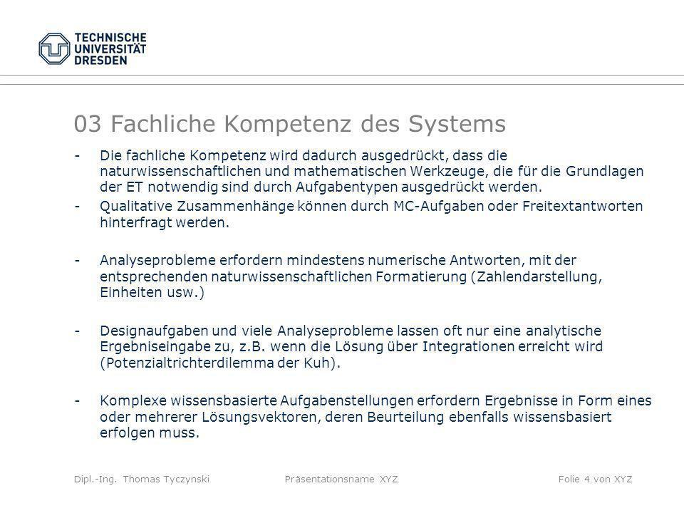 Dipl.-Ing. Thomas TyczynskiPräsentationsname XYZFolie 4 von XYZ 03 Fachliche Kompetenz des Systems -Die fachliche Kompetenz wird dadurch ausgedrückt,