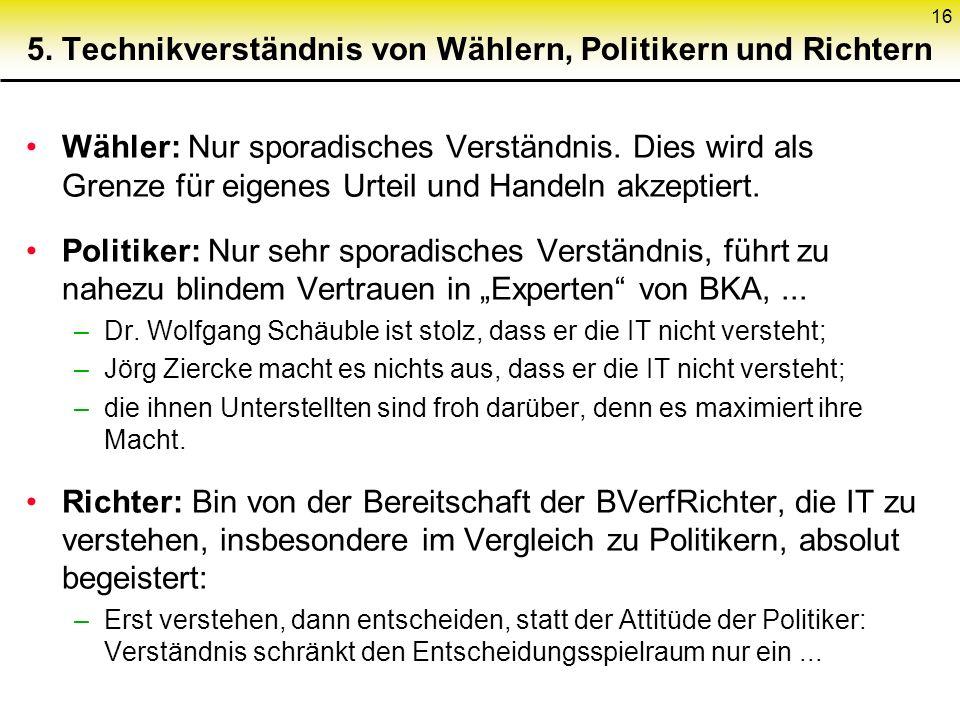 16 5. Technikverständnis von Wählern, Politikern und Richtern Wähler: Nur sporadisches Verständnis.