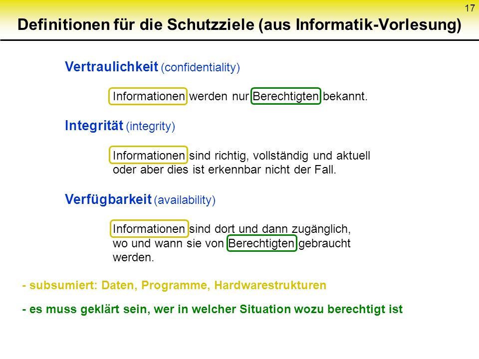 17 Definitionen für die Schutzziele (aus Informatik-Vorlesung) Vertraulichkeit (confidentiality) Informationen werden nur Berechtigten bekannt. Integr