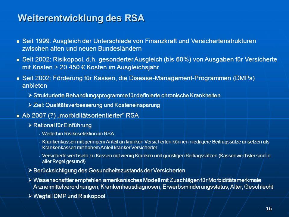 16 Weiterentwicklung des RSA Seit 1999: Ausgleich der Unterschiede von Finanzkraft und Versichertenstrukturen zwischen alten und neuen Bundesländern S