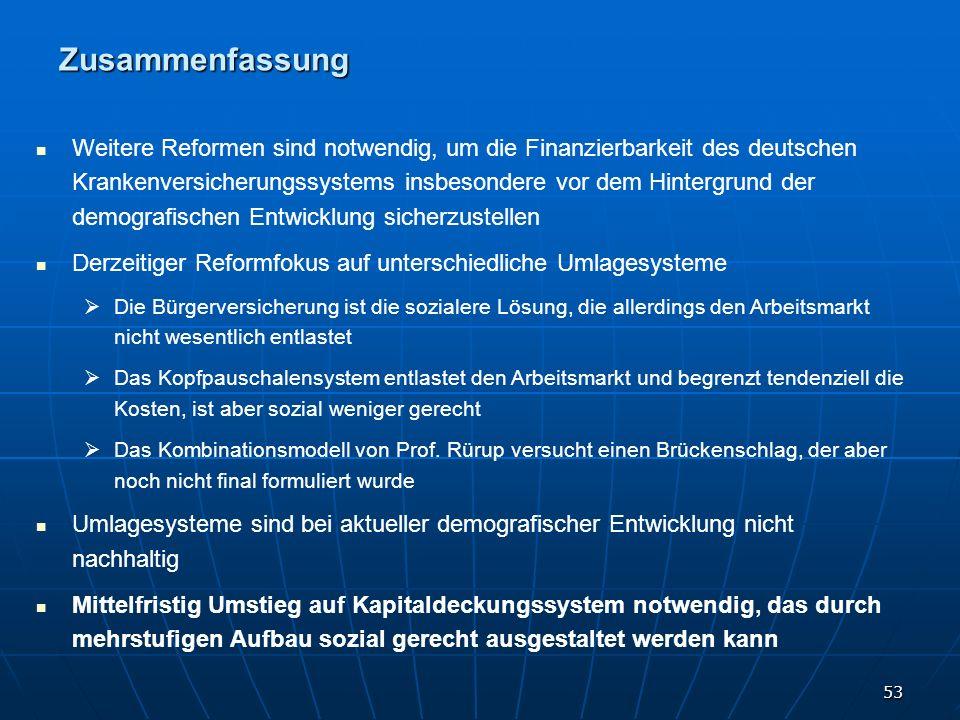 53 Weitere Reformen sind notwendig, um die Finanzierbarkeit des deutschen Krankenversicherungssystems insbesondere vor dem Hintergrund der demografisc