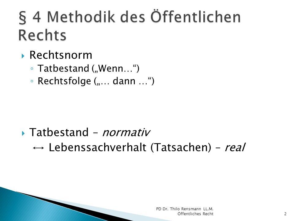 Rechtsnorm Tatbestand (Wenn…) Rechtsfolge (… dann …) Tatbestand – normativ Lebenssachverhalt (Tatsachen) – real 2 PD Dr. Thilo Rensmann LL.M. Öffentli