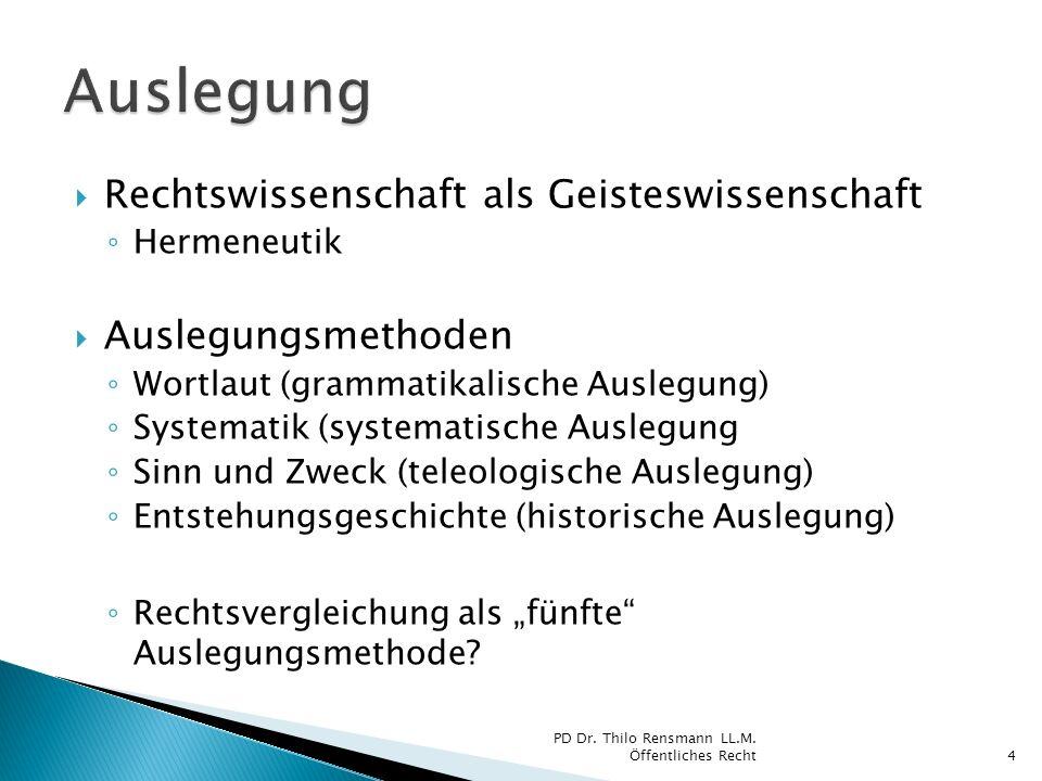 Rechtswissenschaft als Geisteswissenschaft Hermeneutik Auslegungsmethoden Wortlaut (grammatikalische Auslegung) Systematik (systematische Auslegung Si