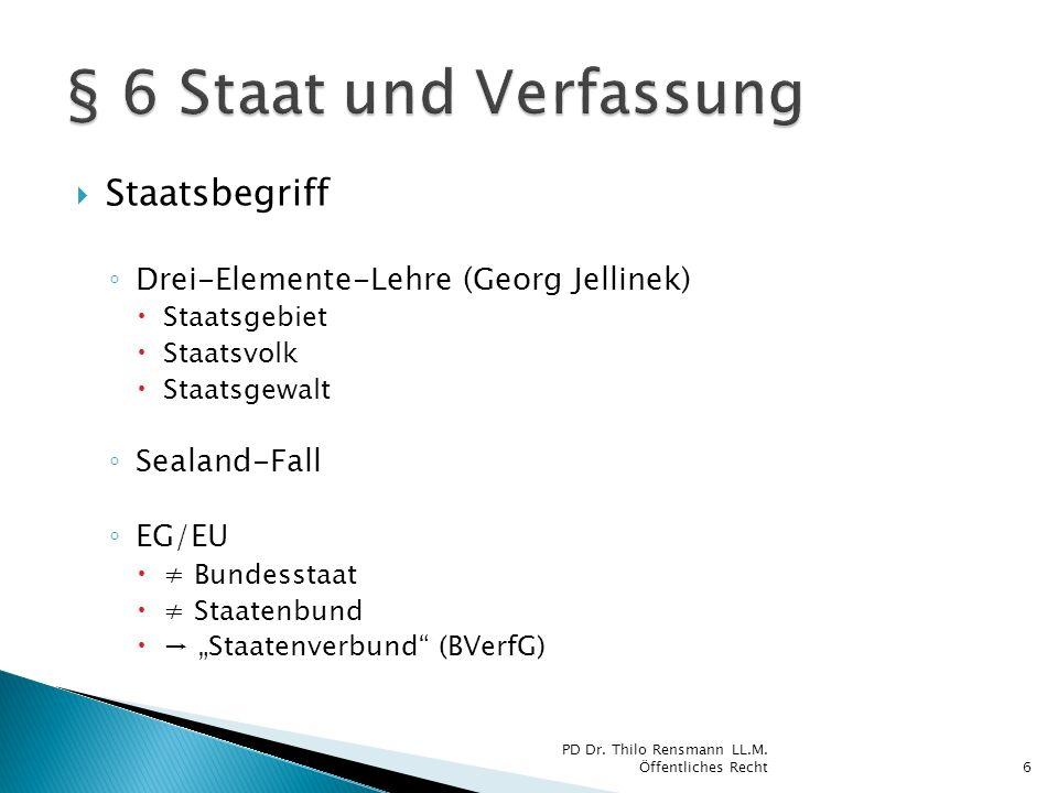 Staatsbegriff Drei-Elemente-Lehre (Georg Jellinek) Staatsgebiet Staatsvolk Staatsgewalt Sealand-Fall EG/EU Bundesstaat Staatenbund Staatenverbund (BVe