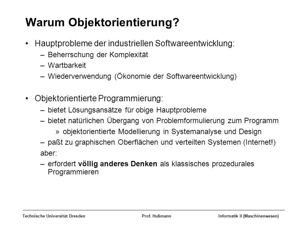 Technische Universität DresdenProf. HußmannInformatik II (Maschinenwesen) Warum Objektorientierung? Hauptprobleme der industriellen Softwareentwicklun