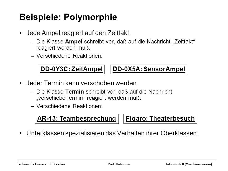 Technische Universität DresdenProf. HußmannInformatik II (Maschinenwesen) Beispiele: Polymorphie Jede Ampel reagiert auf den Zeittakt. –Die Klasse Amp