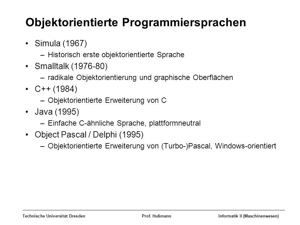 Technische Universität DresdenProf. HußmannInformatik II (Maschinenwesen) Objektorientierte Programmiersprachen Simula (1967) –Historisch erste objekt