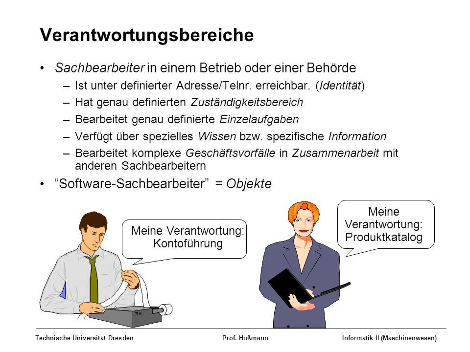 Technische Universität DresdenProf. HußmannInformatik II (Maschinenwesen) Verantwortungsbereiche Sachbearbeiter in einem Betrieb oder einer Behörde –I