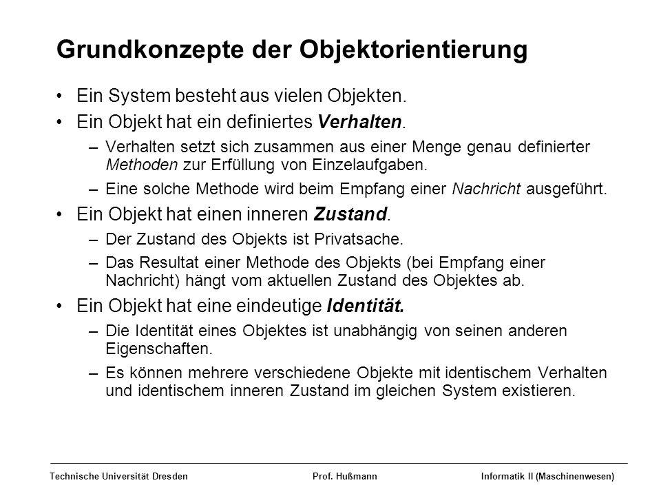 Technische Universität DresdenProf. HußmannInformatik II (Maschinenwesen) Grundkonzepte der Objektorientierung Ein System besteht aus vielen Objekten.