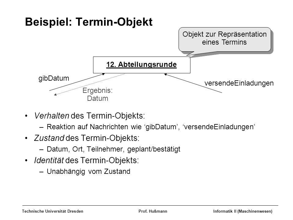 Technische Universität DresdenProf. HußmannInformatik II (Maschinenwesen) Beispiel: Termin-Objekt Verhalten des Termin-Objekts: –Reaktion auf Nachrich