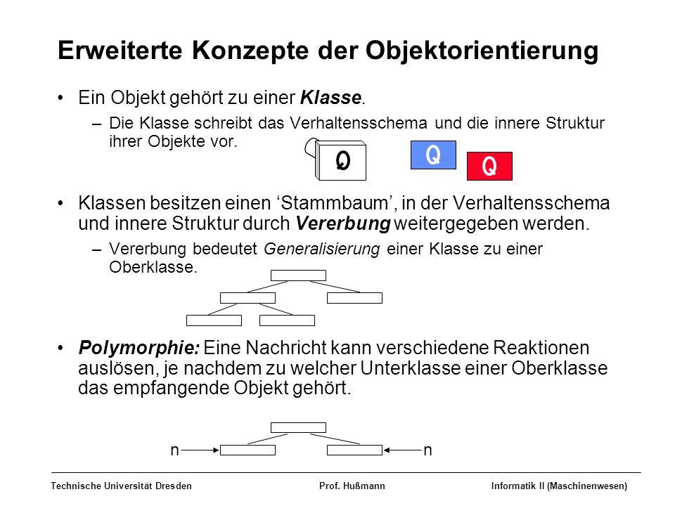 Technische Universität DresdenProf. HußmannInformatik II (Maschinenwesen) Erweiterte Konzepte der Objektorientierung Ein Objekt gehört zu einer Klasse