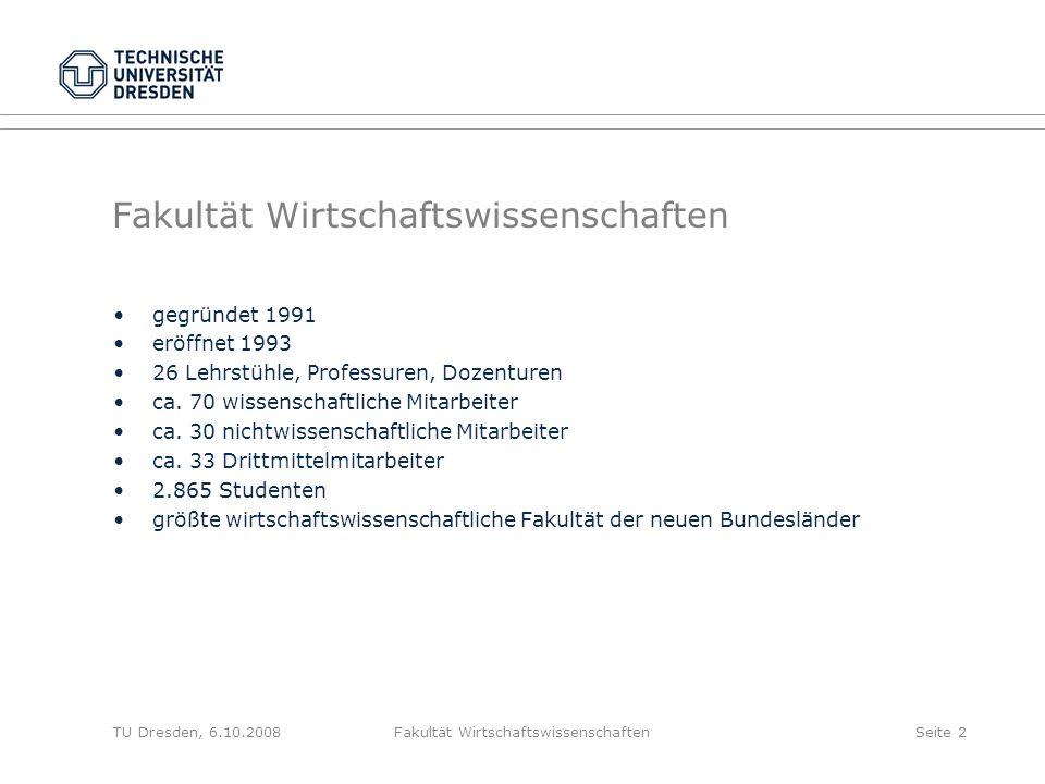 TU Dresden, 6.10.2008Fakultät WirtschaftswissenschaftenSeite 2 Fakultät Wirtschaftswissenschaften gegründet 1991 eröffnet 1993 26 Lehrstühle, Professu