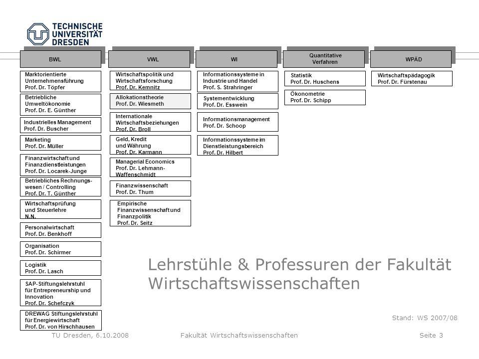 TU Dresden, 6.10.2008Fakultät WirtschaftswissenschaftenSeite 4 Lehrstühle/Professuren für Betriebswirtschaftslehre Marktorientierte Unternehmensführung (C4) Betriebliches Rechnungswesen/ Controlling (C4) Wirtschaftsprüfung und Steuerlehre (C4) Organisation (C3) SAP-Stiftungslehrstuhl für Entre- preneurship and Innovation (C4) Personalwirtschaft (C4) Logistik (C4) Marketing (C4) Industrielles Management (C4) Betriebliche Umweltökonomie (W3) Finanzwirtschaft und Finanzdienstleistungen (C4) DREWAG Stiftungslehrstuhl Energiewirtschaft (C4)