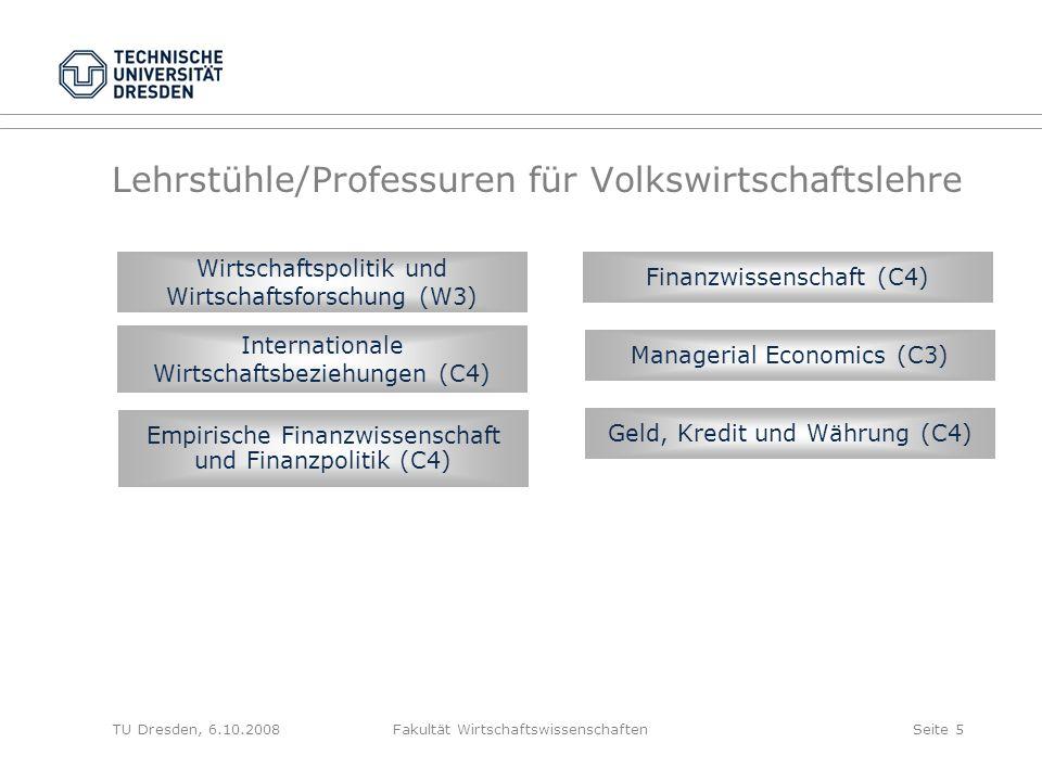 TU Dresden, 6.10.2008Fakultät WirtschaftswissenschaftenSeite 5 Lehrstühle/Professuren für Volkswirtschaftslehre Wirtschaftspolitik und Wirtschaftsfors