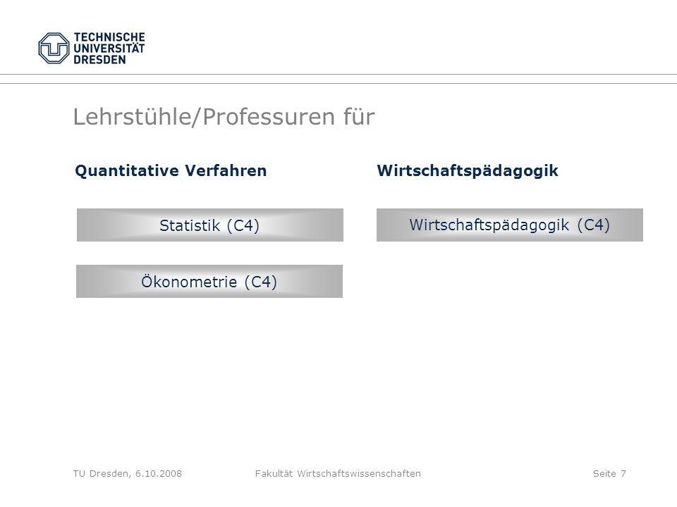 TU Dresden, 6.10.2008Fakultät WirtschaftswissenschaftenSeite 7 Lehrstühle/Professuren für Wirtschaftspädagogik (C4) Ökonometrie (C4) Statistik (C4) Qu
