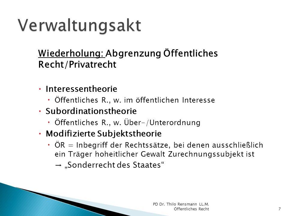 Wiederholung: Abgrenzung Öffentliches Recht/Privatrecht Interessentheorie Öffentliches R., w. im öffentlichen Interesse Subordinationstheorie Öffentli