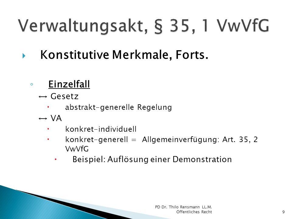 Konstitutive Merkmale, Forts. Einzelfall Gesetz abstrakt-generelle Regelung VA konkret-individuell konkret-generell = Allgemeinverfügung: Art. 35, 2 V