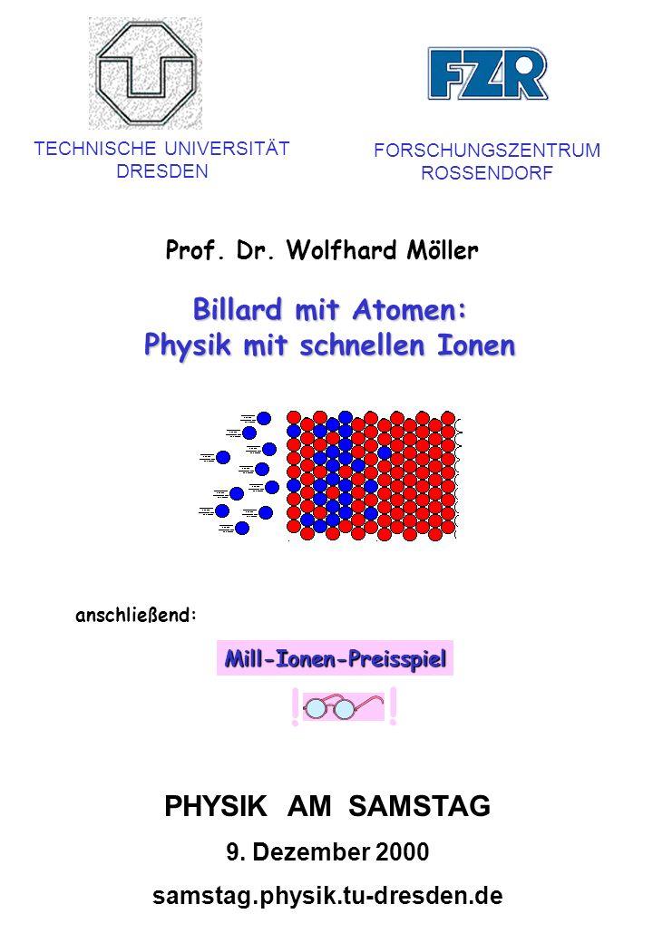 Billard mit Atomen: Physik mit schnellen Ionen Prof. Dr. Wolfhard Möller TECHNISCHE UNIVERSITÄT DRESDEN FORSCHUNGSZENTRUM ROSSENDORF PHYSIK AM SAMSTAG