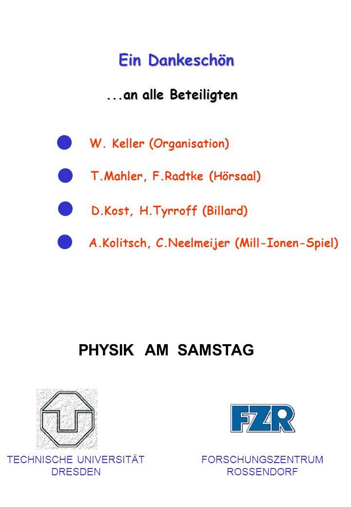 Ein Dankeschön...an alle Beteiligten W. Keller (Organisation) PHYSIK AM SAMSTAG TECHNISCHE UNIVERSITÄT DRESDEN FORSCHUNGSZENTRUM ROSSENDORF T.Mahler,
