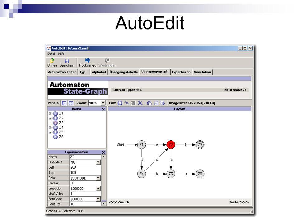 Automaten Definition Trennung von Definition und Layout (Speicherung mit oder ohne Layoutdaten möglich) Definition ist vollständig: XML Format für Automaten