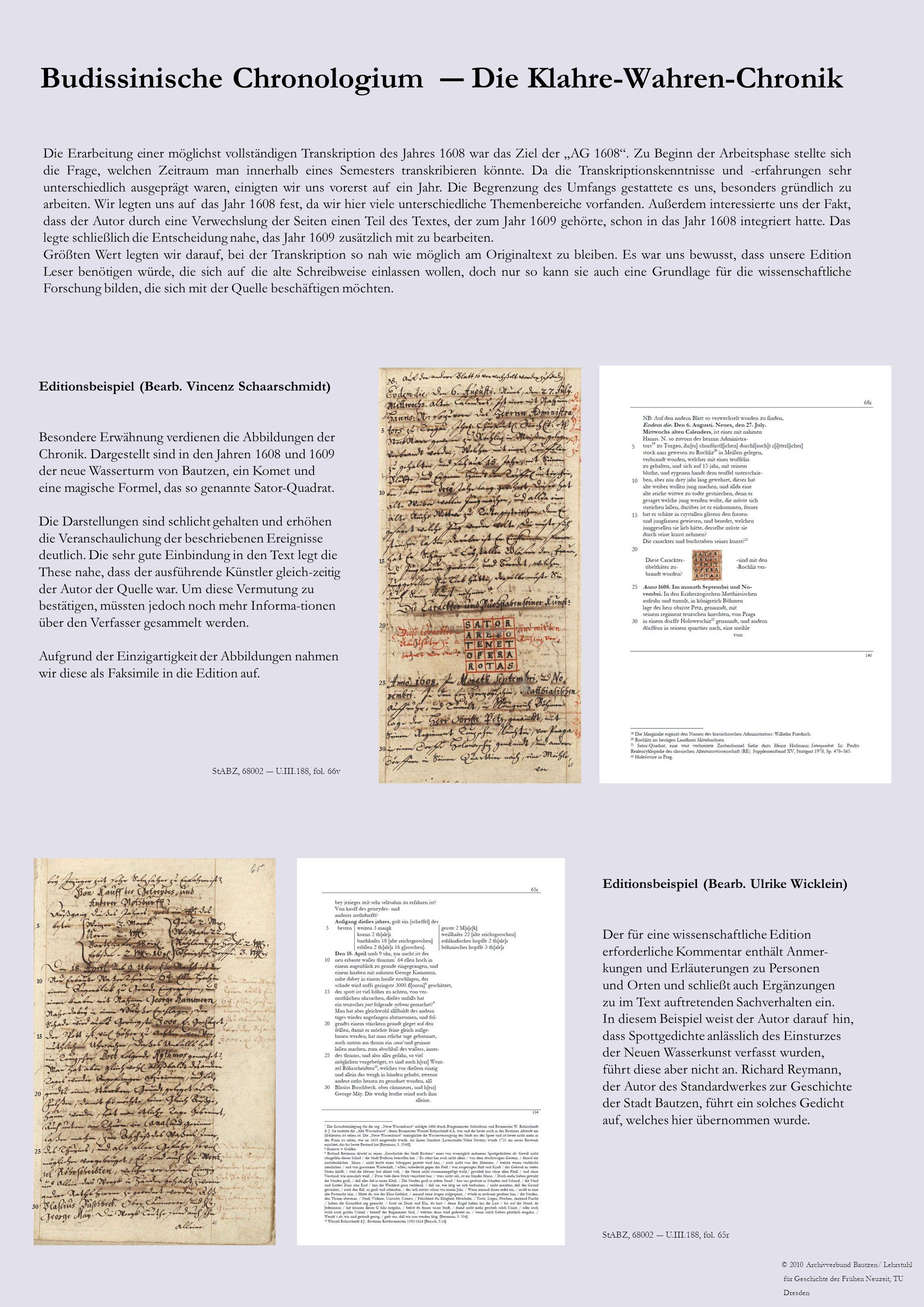 Budissinische Chronologium Die Klahre-Wahren-Chronik Editionsbeispiel (Bearb.